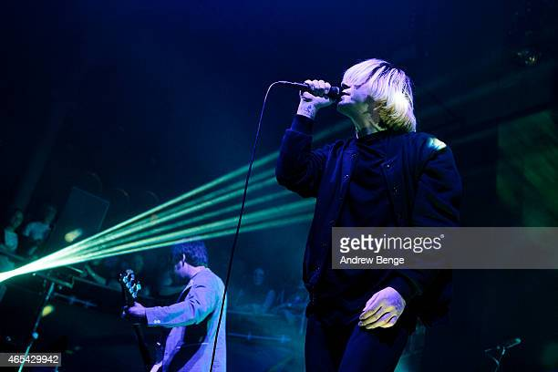 Mark Collins and Tim Burgess of The Charlatans perform on stage at Albert Hall on March 6 2015 in Manchester United Kingdom