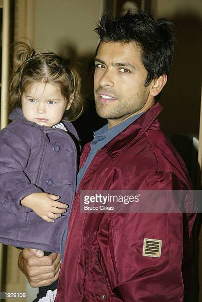 Mark Consuelos and daughter Lola arrive on Opening Night for A Year With Frog and Toad at The Cort Theatre in New York City April 13 2003