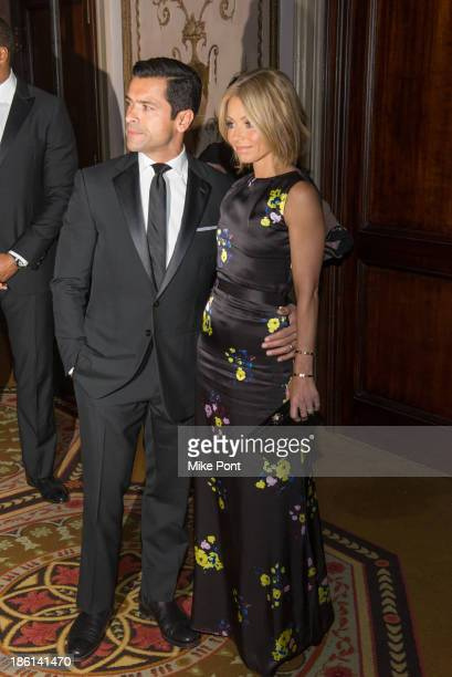 Mark Consuelos and Kelly Ripa attend the Broadcasting and Cable 23rd Annual Hall of Fame Awards Dinner at The Waldorf=Astoria on October 28 2013 in...