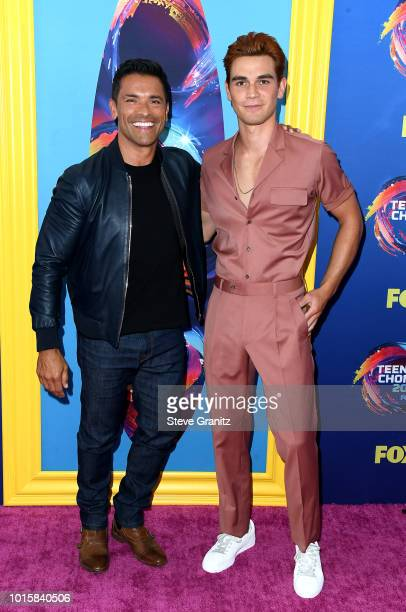 Mark Consuelos and KJ Apa attend FOX's Teen Choice Awards at The Forum on August 12 2018 in Inglewood California