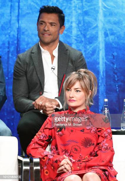 Mark Consuelos and Mädchen Amick from Riverdale speak onstage at the CW Network portion of the Summer 2018 TCA Press Tour at The Beverly Hilton Hotel...