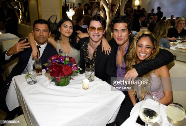 Mark Consuelos Camila Mendes KJ Apa Charles Melton and Cole Sprouse attend The CW Network's 2018 upfront party at Avra Madison Estiatorio on May 17...