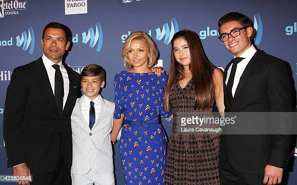 Mark Consuelos Joaquin Consuelos Kelly Ripa Lola Consuelos and Michael Consuelos attend 26th Annual GLAAD Media Awards at The Waldorf Astoria on May...