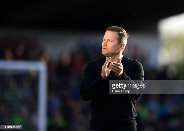 Mark Cooper Manager of Forest Green Rovers during the Sky Bet League Two Playoff Semi Final Second Leg match between Forest Green and Tranmere Rovers...