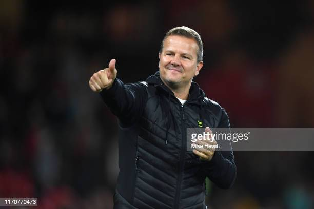 Mark Cooper Manger of Forest Green Rovers acknowledges the fans following defeat in the Carabao Cup Second Round match between AFC Bournemouth and...