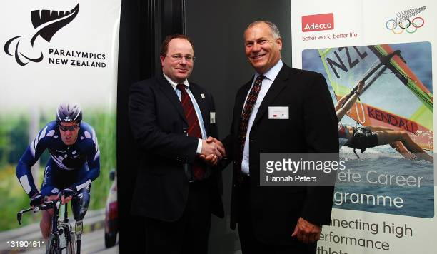 Mark Copeland Paralympics New Zealand Chairman and Patrick Glennon Adecco Vice President Adecco Global Director of the International Olympic...