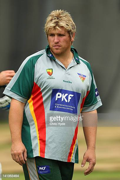Mark Cosgrove looks on during a Tasmania Tigers training session ahead of the Sheffield Shield final at The Gabba on March 15 2012 in Brisbane...