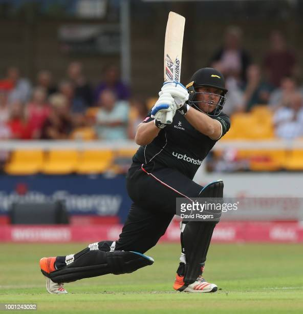 Mark Cosgrove of Leicestershire drives during the Vitality Blast match between Leicestershire Foxes and Lancashire Lightning at Grace Road on July 18...