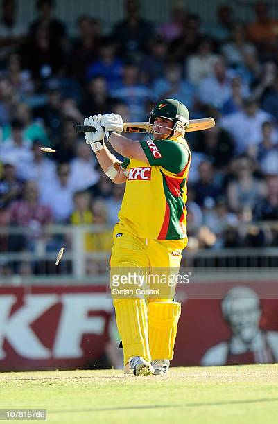 Mark Cosgrove of the Tighers is bowled out during the Twenty20 Big Bash match between the Western Australia Warriors and the Tasmania Tigers at WACA...