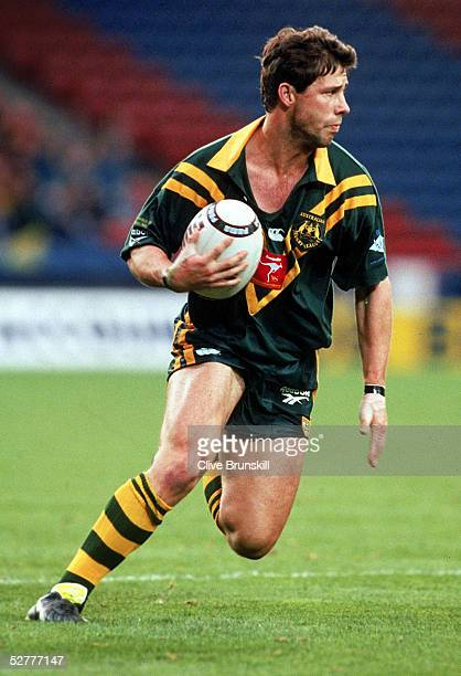 Mark Coyne of Australia in action in the semi final match during the Rugby League World Cup between Australia and New Zealand held at Wembley Stadium...