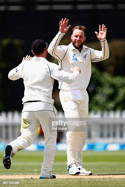 Mark Craig of New Zealand celebrates his wicket of Dinesh Chandimal of Sri Lanka during day five of the Second Test match between New Zealand and Sri...