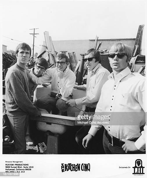 Mark Creamer Dale Gardner Jim Parker Dallas Smith and Johnny Stark of the folk beat group The Kitchen Cinq pose for a portrait in 1967
