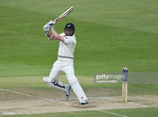 Mark Criag of New Zealand plunders the ball to the boundary during day four of the 2nd Investec Test Match between England and New Zealand at...