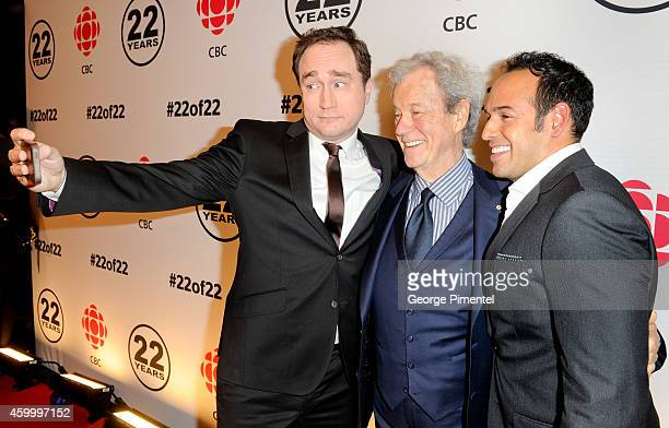Mark Critch Gordon Pinsent and Shaun Majumder attend the This Hour Has 22 Minutes 22nd Year Celebration at TIFF Bell Lightbox on December 4 2014 in...