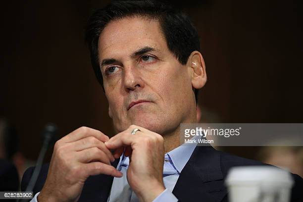 Mark Cuban chairman of AXS TV and owner of the Dallas Mavericks listens to testimony during a Senate Judiciary Subcommittee hearing on Capitol Hill...