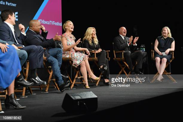 Mark Cuban Daymond John Barbara Corcoran Lori Greiner and Kevin O'Leary speak onstage at the Tribeca Talks Panel 10 Years Of Shark Tank during the...