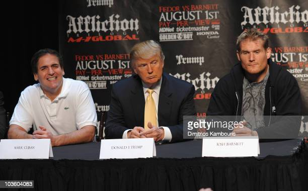 Mark Cuban Donald Trump and UFC Fighter Josh Barnett attend a press conference to officially announce the Affliction M1 Global Trilogy at Trump Tower...