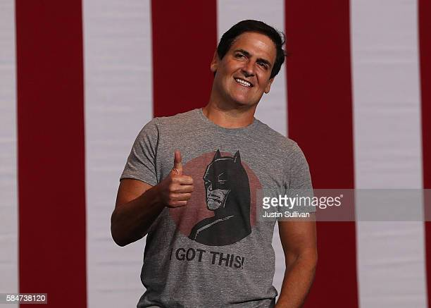 Mark Cuban gives the thumbsup before the start of a campaign rally with democratic presidential nominee former Secretary of State Hillary Clinton and...