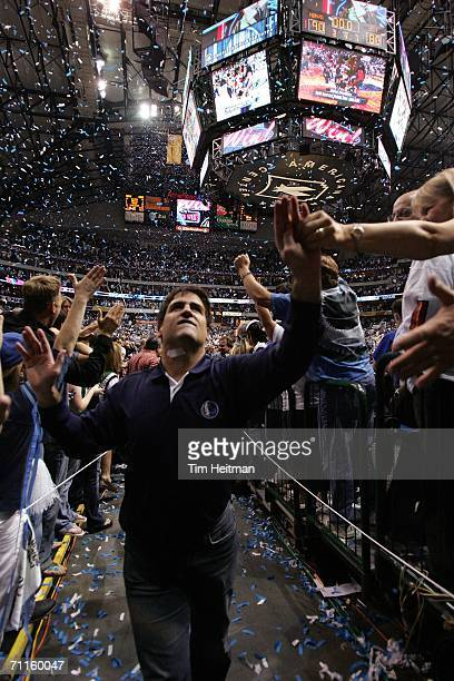 Mark Cuban owner of the Dallas Mavericks celebrates after Game One of the 2006 NBA Finals against the Miami Heat June 8 2006 at American Airlines...