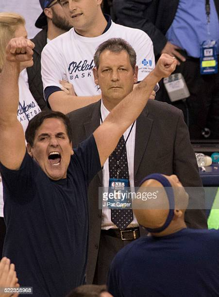 Mark Cuban owner of the Dallas Mavericks celebrates after Game Two of the Western Conference Quarterfinals against Oklahoma City during the 2016 NBA...
