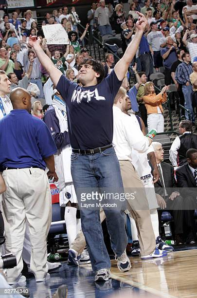 Mark Cuban owner of the Dallas Mavericks celebrates after winning in Game seven of the Western Conference Quarterfinals during the 2005 NBA Playoffs...