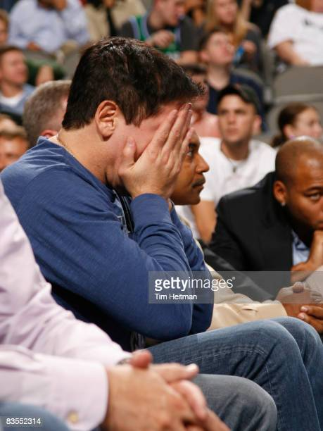 Mark Cuban owner of the Dallas Mavericks holds his face in his hands as his team take a loss against the Cleveland Cavaliers on November 3, 2008 at...