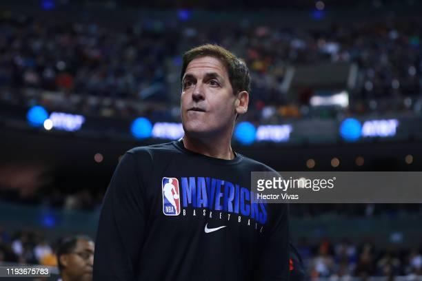 Mark Cuban owner of the Dallas Mavericks looks on during a game between Dallas Mavericks and Detroit Pistons at Arena Ciudad de Mexico on December 12...