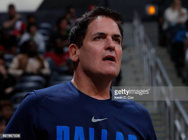 Mark Cuban owner of the Dallas Mavericks reacts during the game against the Atlanta Hawks at Philips Arena on December 23 2017 in Atlanta Georgia...