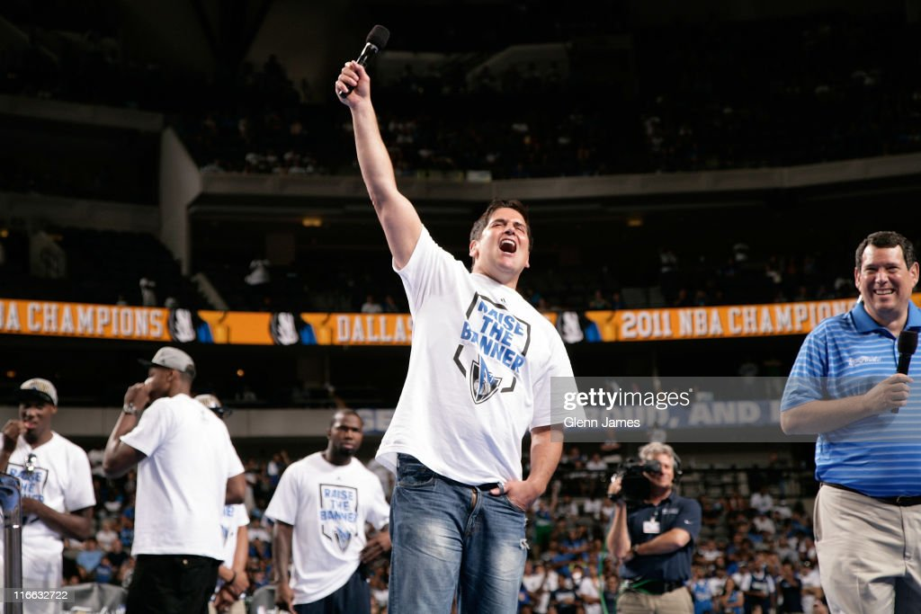 Mark Cuban, owner of the Dallas Mavericks speaks to the crowd during the Mavericks NBA Champion Victory Parade on June 16, 2011 at the American Airlines Center in Dallas, Texas.