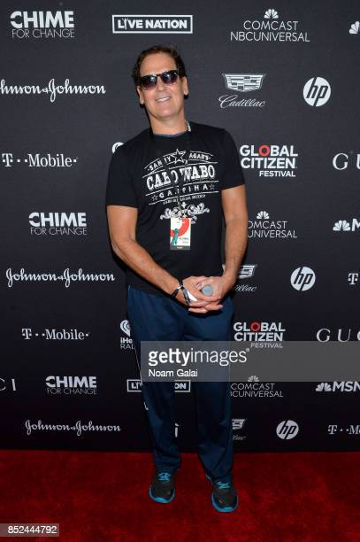 Mark Cuban poses in the VIP Lounge during the 2017 Global Citizen Festival in Central Park on September 23 2017 in New York City