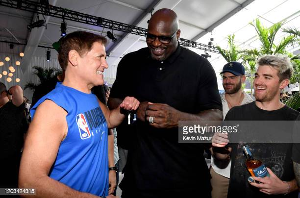 Mark Cuban Shaquille O'Neal and Andrew Taggart attend Michael Rubin's Fanatics Super Bowl Party at Loews Miami Beach Hotel on February 01 2020 in...