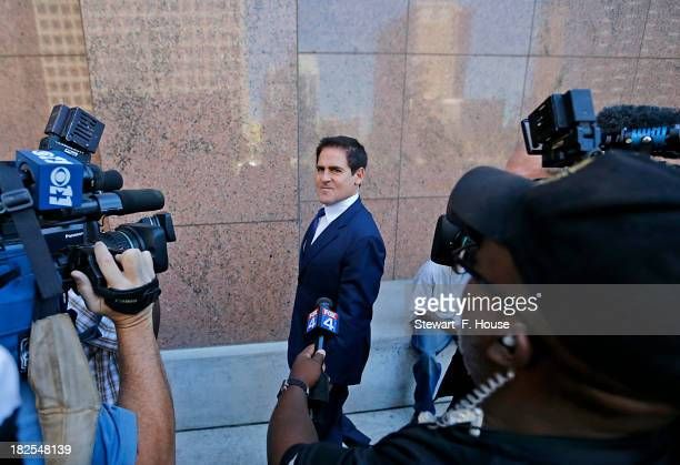 Mark Cuban speaks with the media after leaving the Earle Cabell Federal Building and Courthouse in downtown Dallas on September 30 2013 Cuban was...