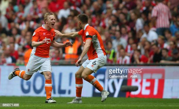 Mark Cullen of Blackpool celebrates after scoring to make it 21 during the Sky Bet League Two Playoff Final match between Blackpool and Exeter City...