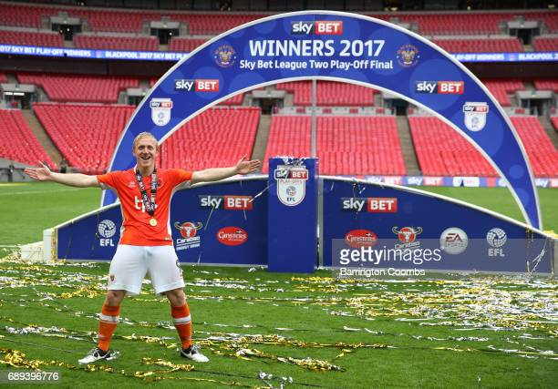 Mark Cullen of Blackpool celebrates victory and promotion after the Sky Bet League Two Playoff Final between Blackpool and Exeter City at Wembley...