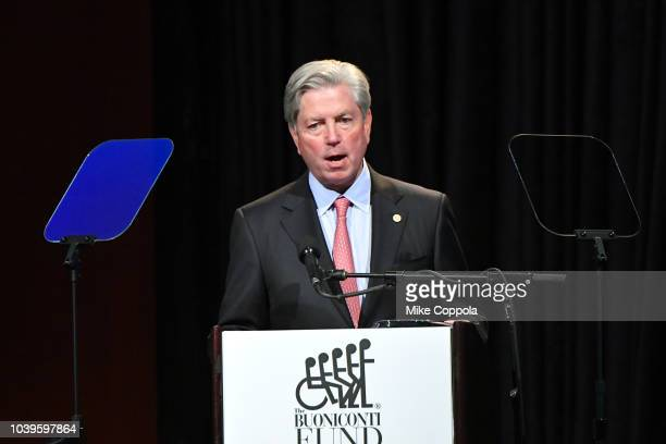 Mark Dalton speaks onstage during the 33rd Annual Great Sports Legends Dinner which raised millions of dollars for the Buoniconti Fund to Cure...