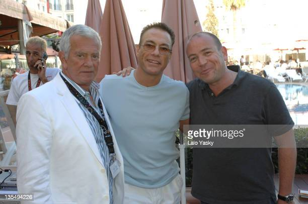 Mark Damon Jean Claude Van Damme and Al Munteanu during 2007 Cannes Film Festival Foresight Party at Majestic Lounge Pool in Cannes France