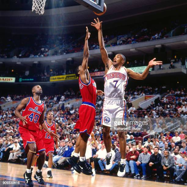Mark Davis of the Philadelphia 76ers shoots during a game played on March 4 1997 at the First Union Arena in Philadelphia Pennsylvania NOTE TO USER...