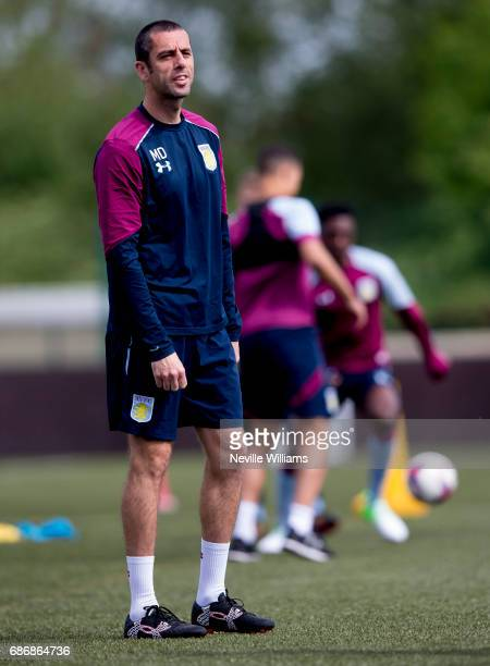 Mark Delaney coach of Aston Villa in action during a Aston Villa U23's training session at the club's training ground at Bodymoor Heath on May 22...