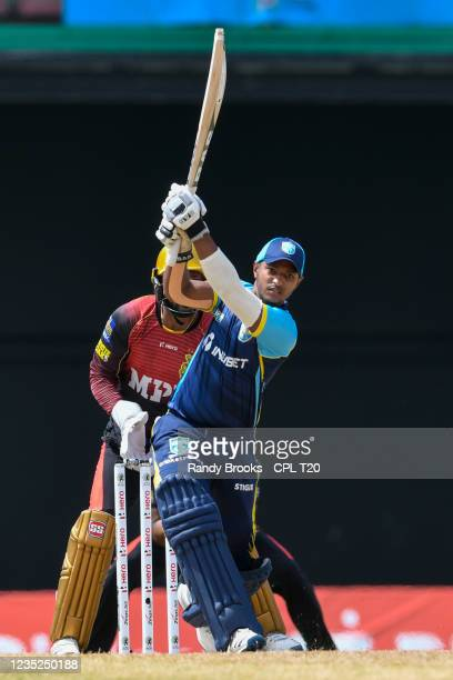 Mark Deyal of Saint Lucia Kings hits 4 during the 2021 Hero Caribbean Premier League Play-Off match 31 between Saint Lucia Kings and Trinbago Knight...