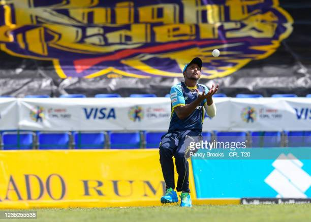 Mark Deyal of Saint Lucia Kings takes the catch to dismiss Ali Khan of Trinbago Knight Riders during the 2021 Hero Caribbean Premier League Play-Off...
