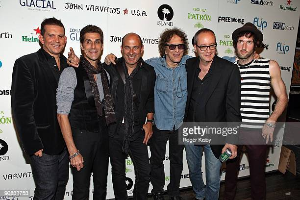 Mark Didia Perry Farrell Sam Adicott John Varvatos Mick Rock and Doug Brod attend the Free The Noise Party during MercedesBenz Fashion Week Spring...