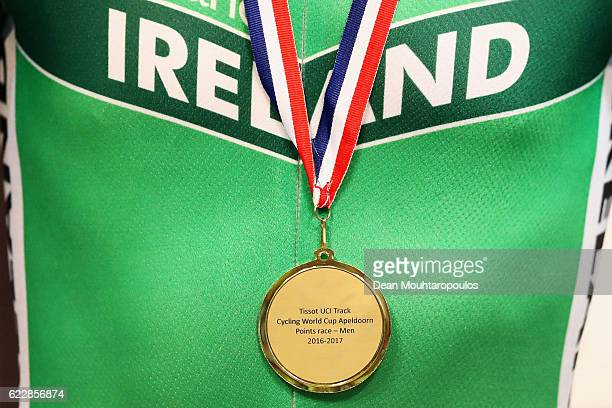 Mark Downey of Ireland celebrates winning the gold medal in the Men's Points Race Final during the Tissot UCI Track Cycling World Cup 20162017 held...