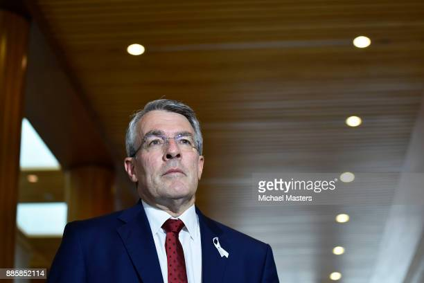 Mark Dreyfus QC Shadow AttorneyGeneral and Shadow Minister for National Security addresses the media at Parliament House on December 5 2017 in...