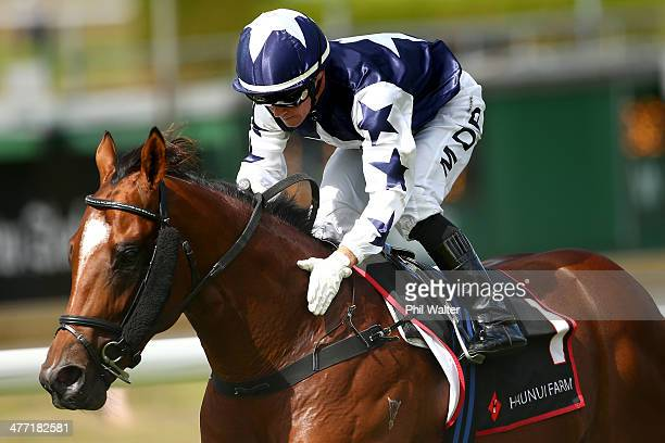 Mark Du Plessis riding Vespa wins the Diamond Stakes during Diamond Day at the Ellerslie Racecourse on March 8 2014 in Auckland New Zealand