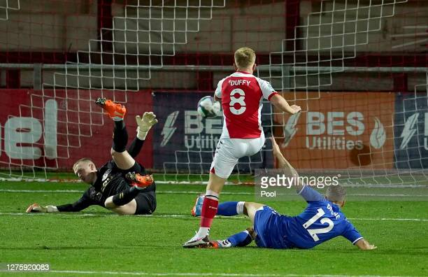 Mark Duffy of Fleetwood Town scores his sides first goal during the Carabao Cup third round match between Fleetwood Town and Everton at Highbury...