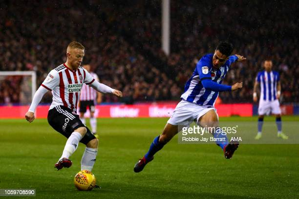 Mark Duffy of Sheffield United and Joey Pelupessy of Sheffield Wednesday during the Sky Bet Championship match between Sheffield United and Sheffield...