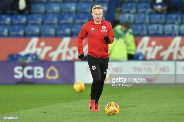 Mark Duffy of Sheffield United before the FA Cup Fifth round match between Leicester City and Sheffield United at The King Power Stadium on February...