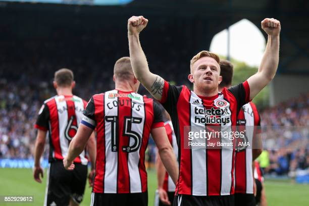 Mark Duffy of Sheffield United celebrates after scoring a goal to make it 23 during the Sky Bet Championship match between Sheffield Wednesday and...