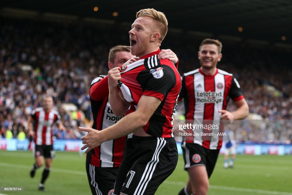 Mark Duffy of Sheffield United celebrates after scoring a goal to make it 2-3 during the Sky Bet Championship match between Sheffield Wednesday and Sheffield United at Hillsborough on September 23, 2017 in Sheffield, England.