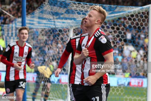 Mark Duffy of Sheffield United celebrates after scoring a goal to make it 2-3 during the Sky Bet Championship match between Sheffield Wednesday and...